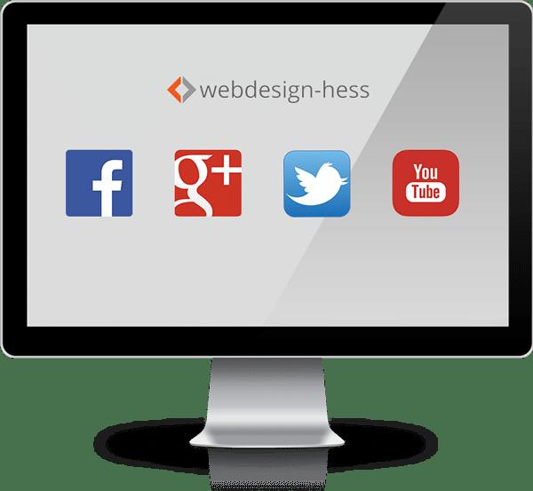 Logos sozialer Netzwerke auf einem iMac