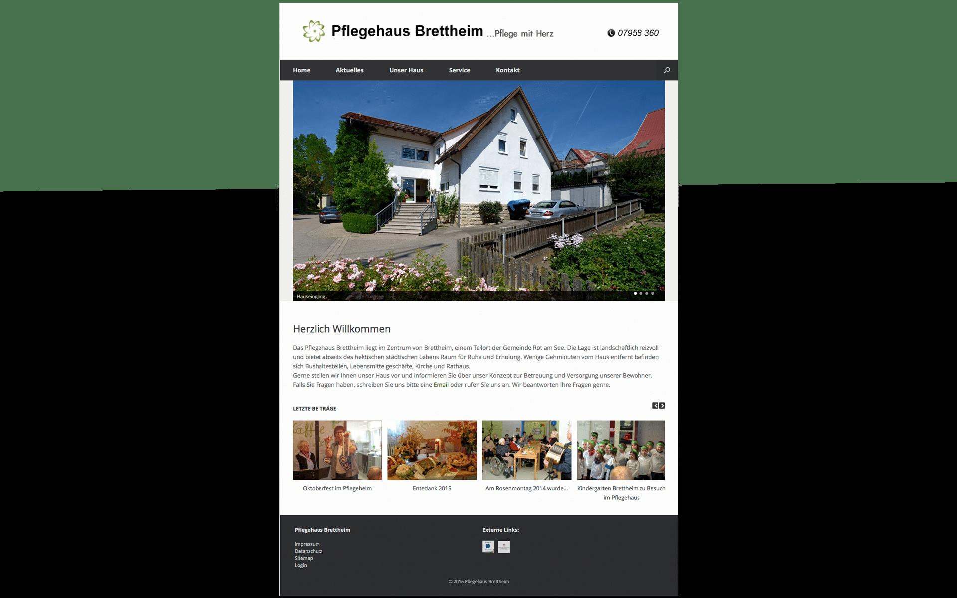 Webseite des Pflegehaus Brettheim