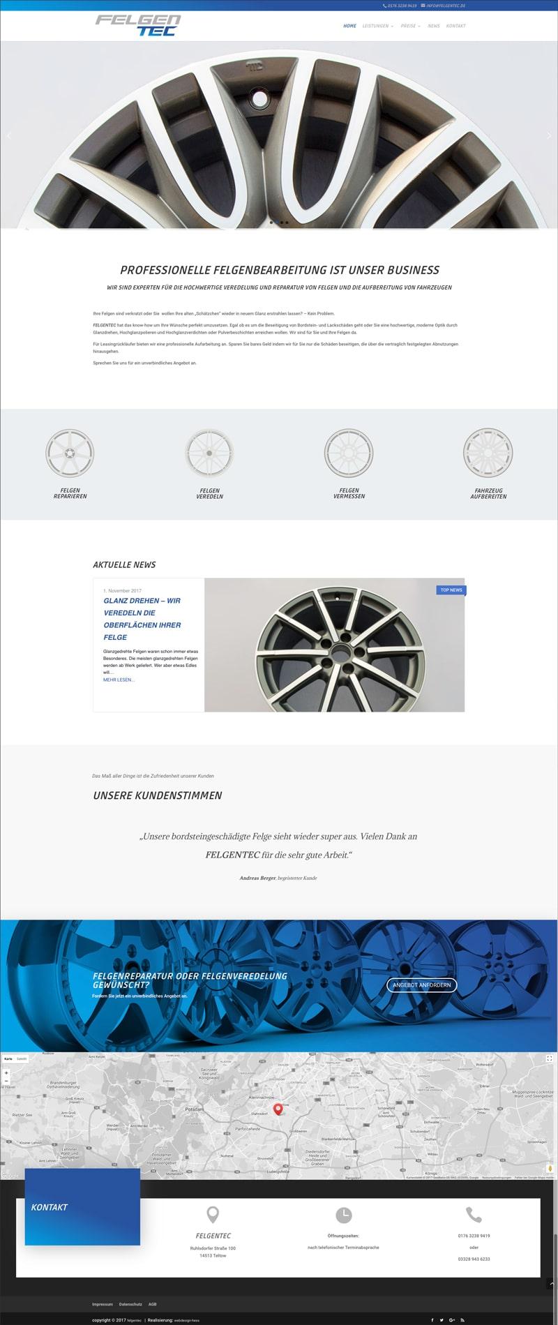 Übersicht der Webseite von Felgentec.de